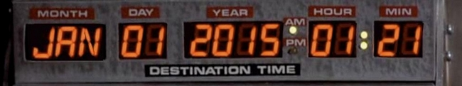 Cadran de Retour vers le futur au 1er janvier 2015