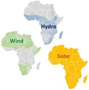 cartes de l'Afrique représentant le potentiel hydroélectrique, solaire et éolien du continent